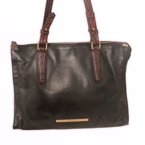 Brahmin black leather brown Melbourne tote bag